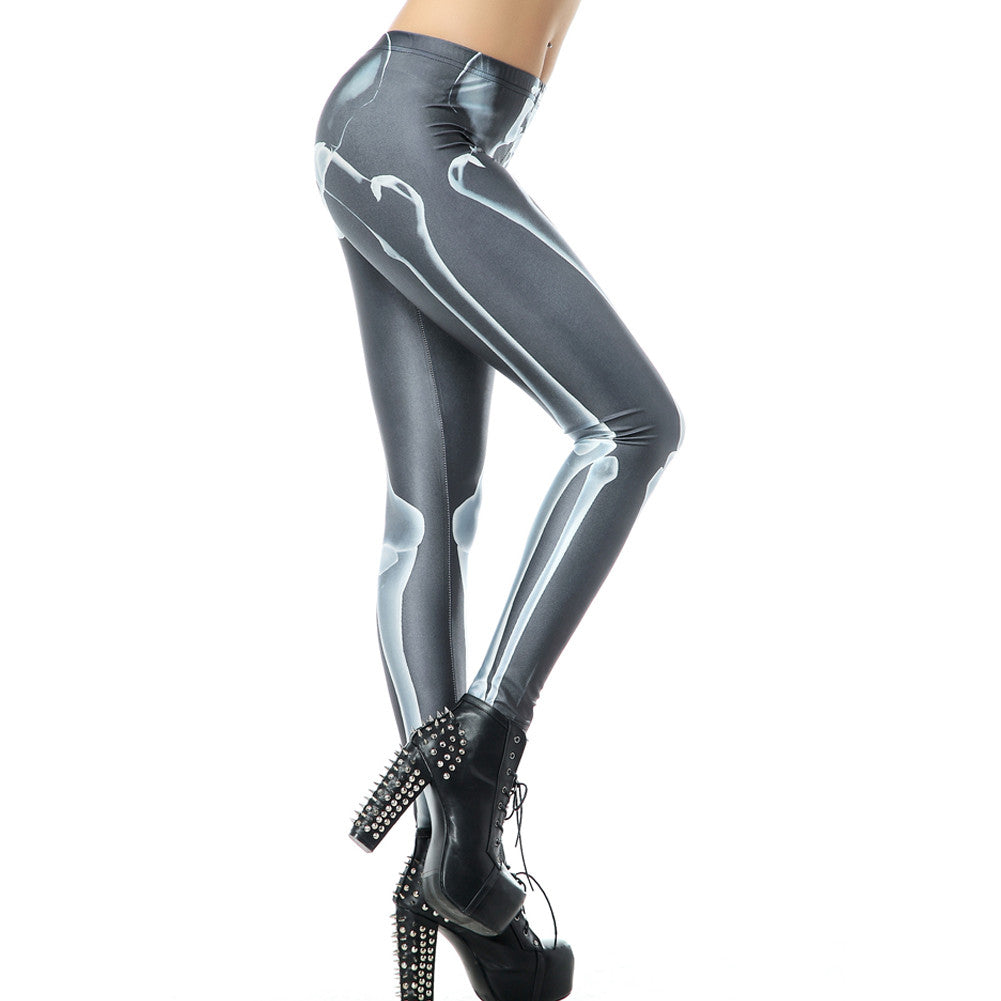 Leggings - Black and Gray Bone Print Leggings - Epic Leggings
