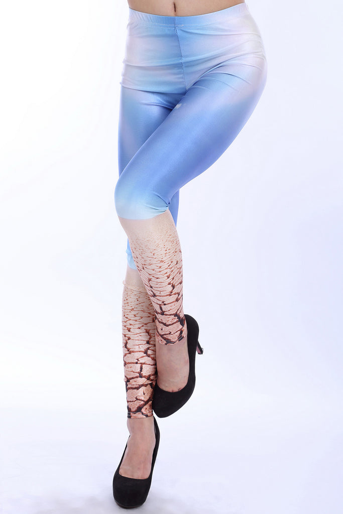 Sky Blue Pattern Leggings