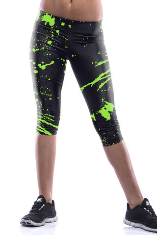 Leggings - Black Funky Green Splash Leggings - Epic Leggings