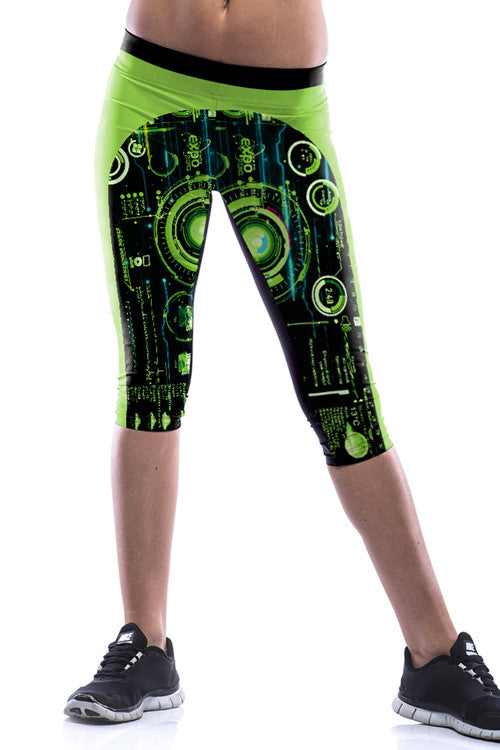 Leggings - Black Abstract Green Leggings - Epic Leggings