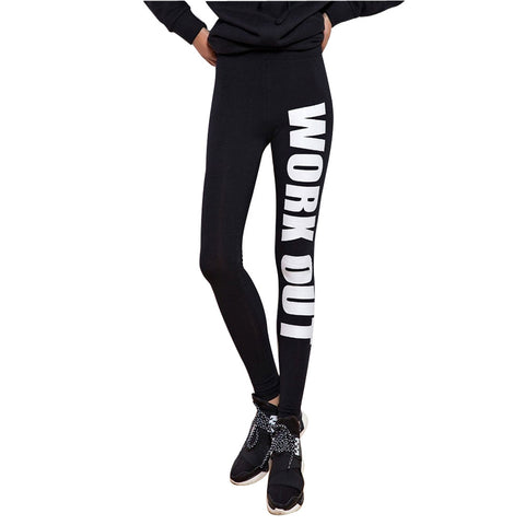 Leggings - Black With White Letters Fitness Leggings - Epic Leggings
