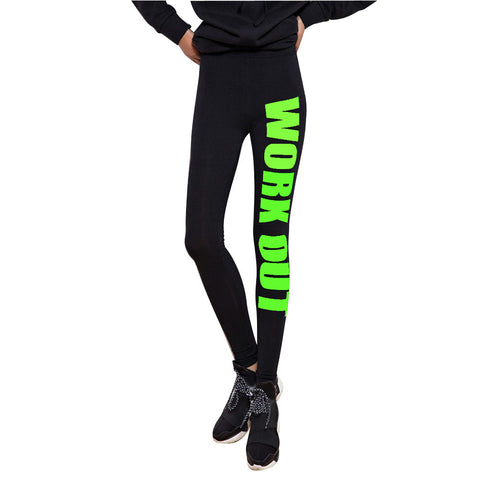 Leggings - Black Fitness Workout Green Letter Printed Leggings - Epic Leggings