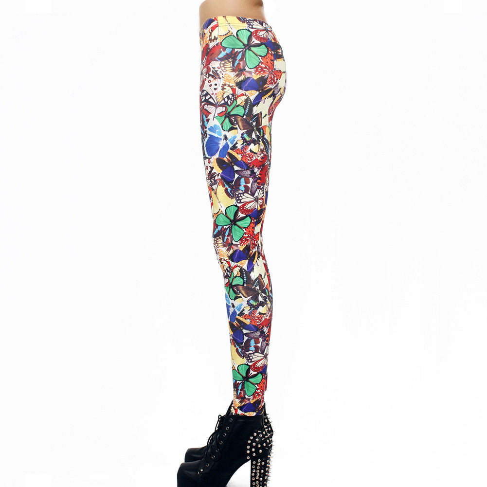 Leggings - Multicolored Digital Print Butterfly Leggings - Epic Leggings