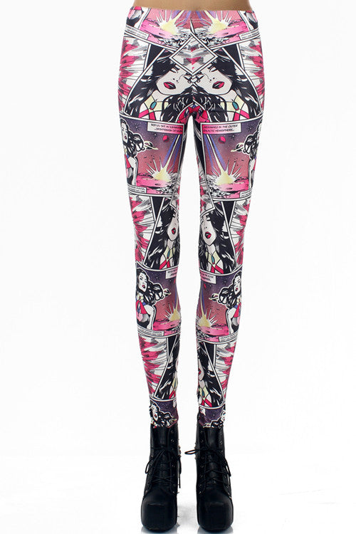 Leggings - Beautiful Girl Comics Digital Print - Epic Leggings