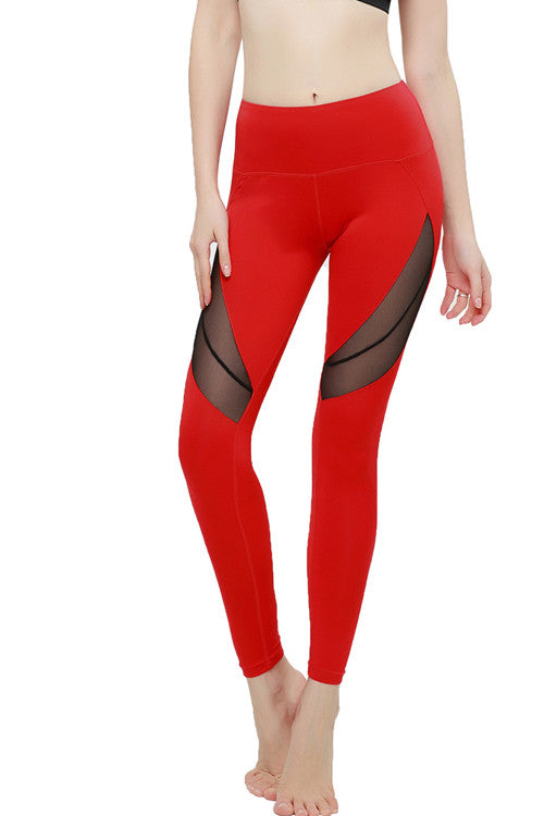 Red Stretchy Unique Mesh Hole Yoga Pants