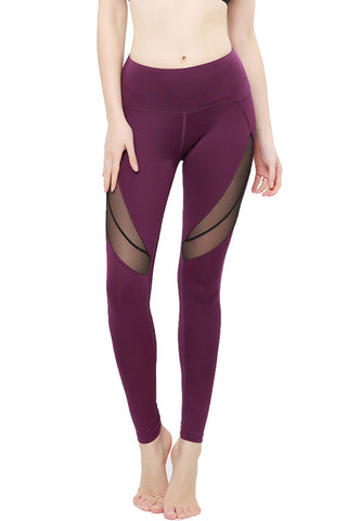 Purple Striated Layered Leggings