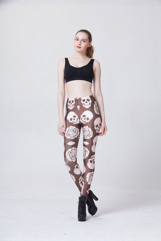 Leggings - Brown Skull Sexy Leggings - Epic Leggings