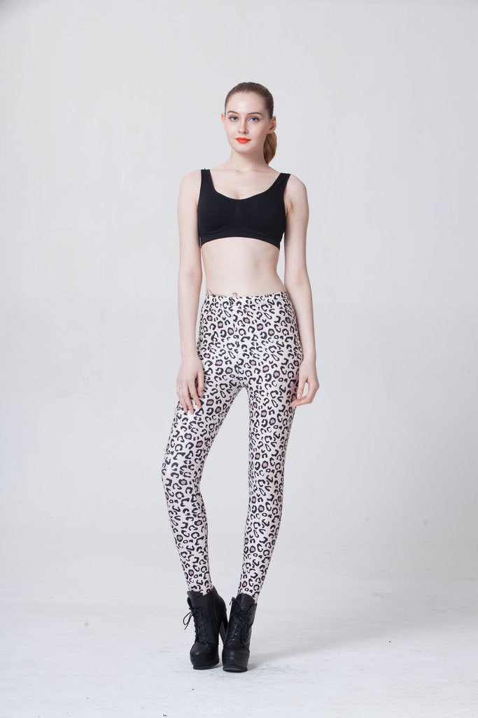 In Spring Of Star Sexy White Leopard Leggings