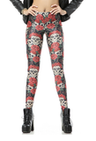 Leggings - Funny Red Sugar Skull Bone Leggings - Epic Leggings