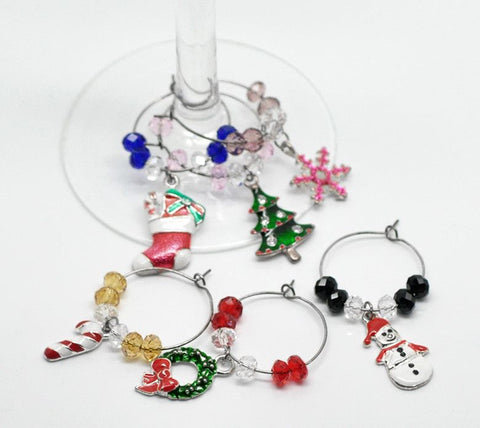 Wine Glass Charms - Various Christmas