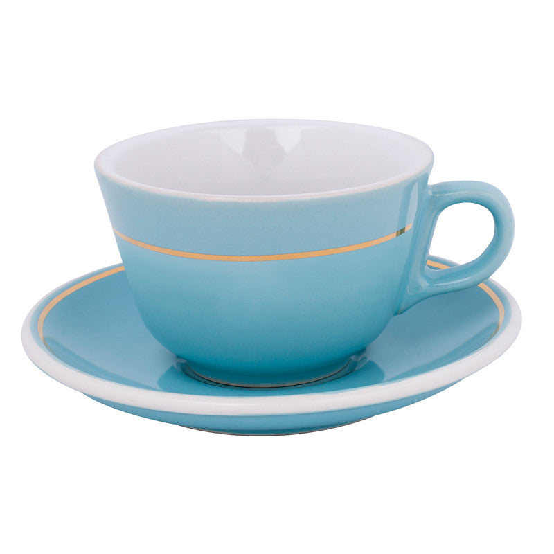 6x 180ml Flat White Cup & Saucer Gold Line $7.95 Each