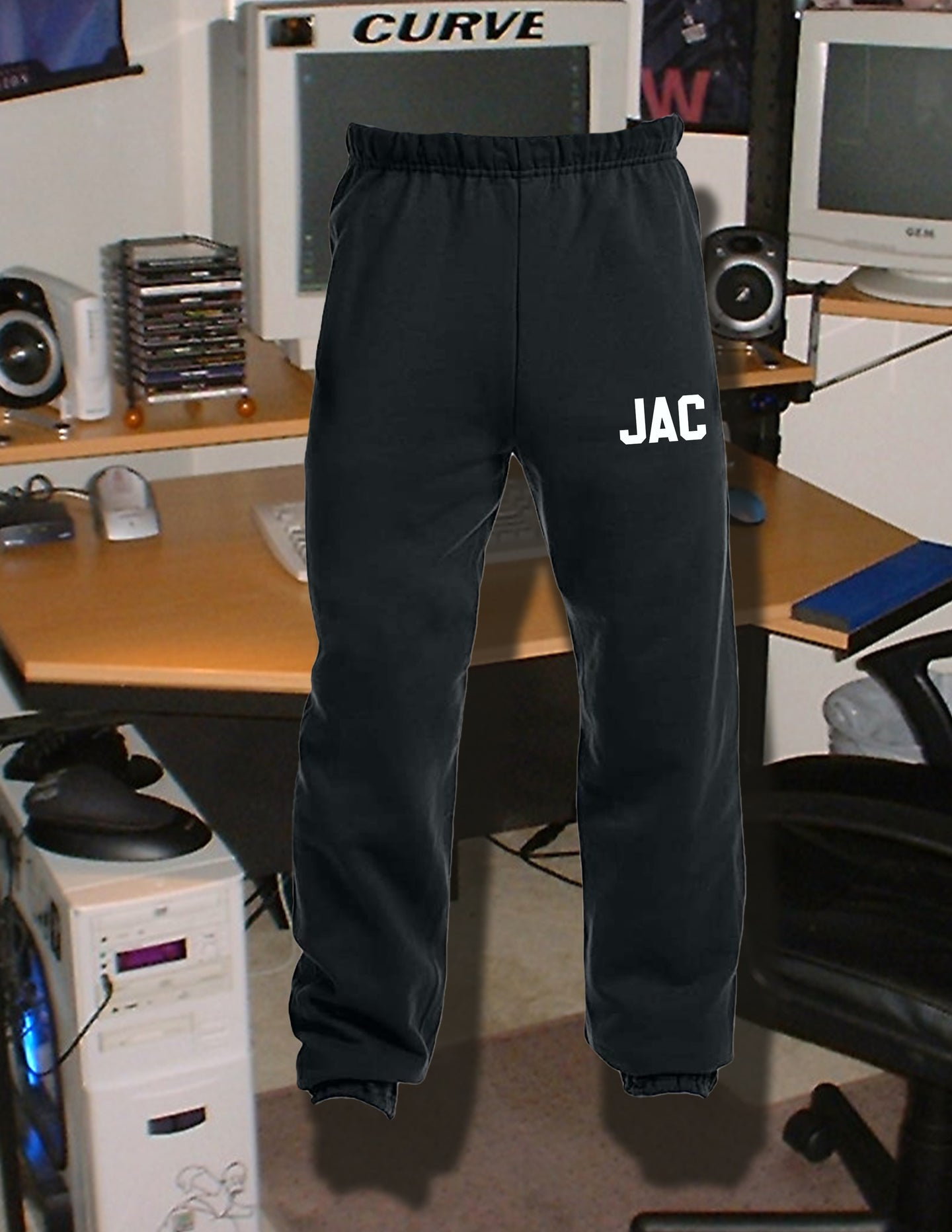 Custom Initial Sweatpants Black