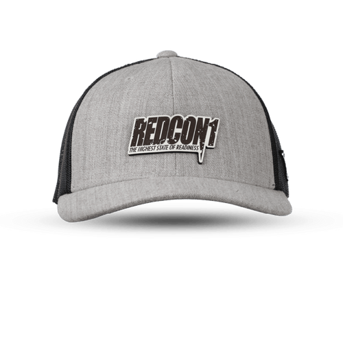 Black On White Leather Patch Gray Trucker Hat