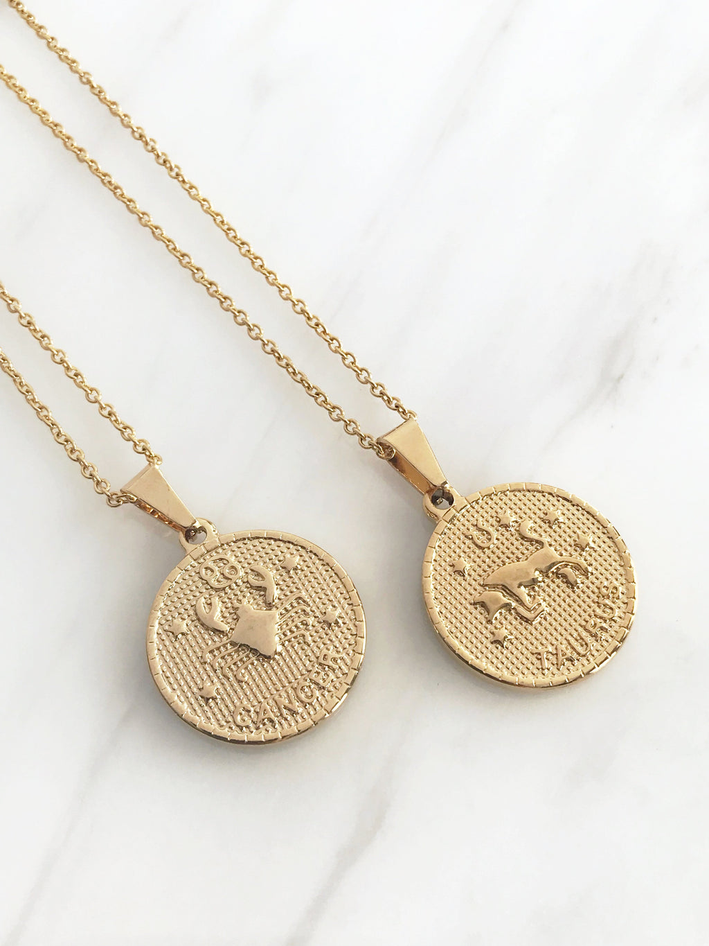gold colour zodiac pendant