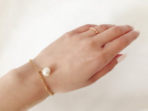 Pearl Drop Bracelet, 14K Gold Filled, Free Shipping