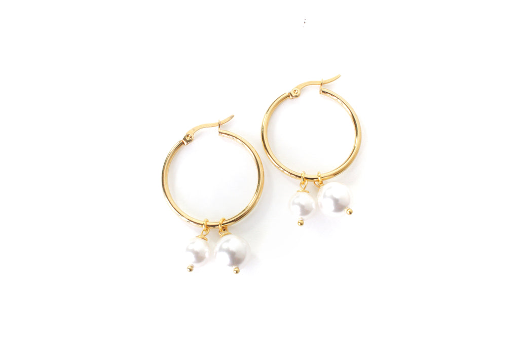 Double Pearl Medium Hoop Earrings - Cissy's Jewelry