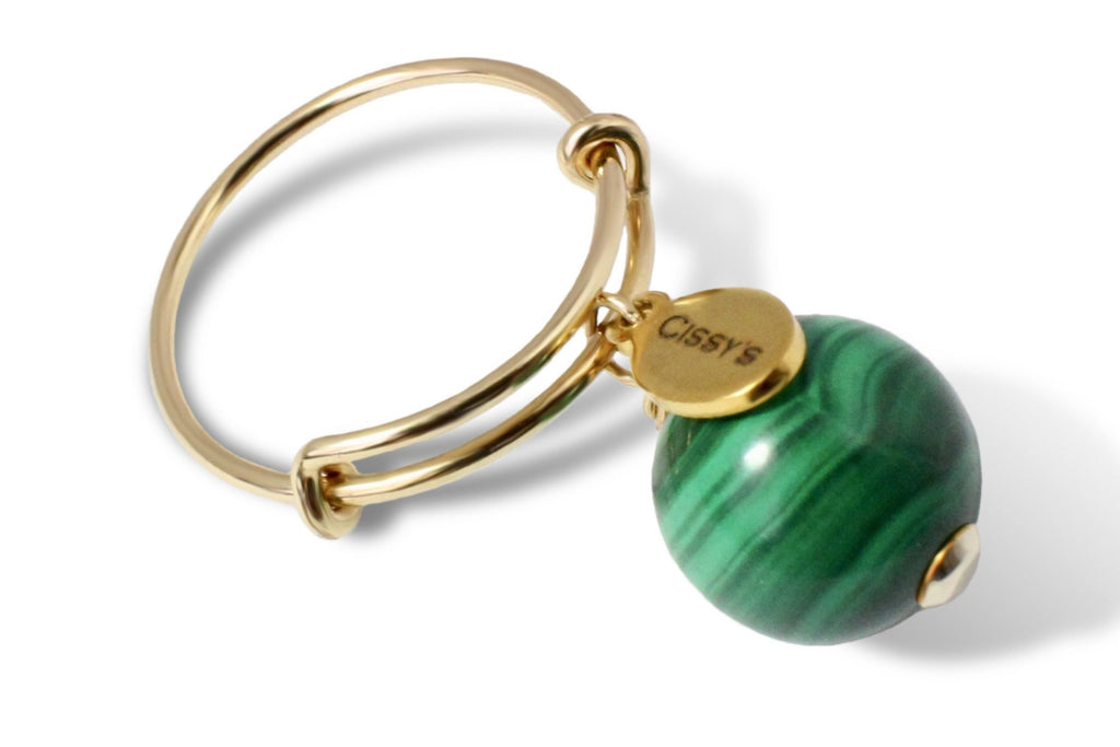 Malachite 14K Gold Filled Charm Ring - Cissy's Jewelry