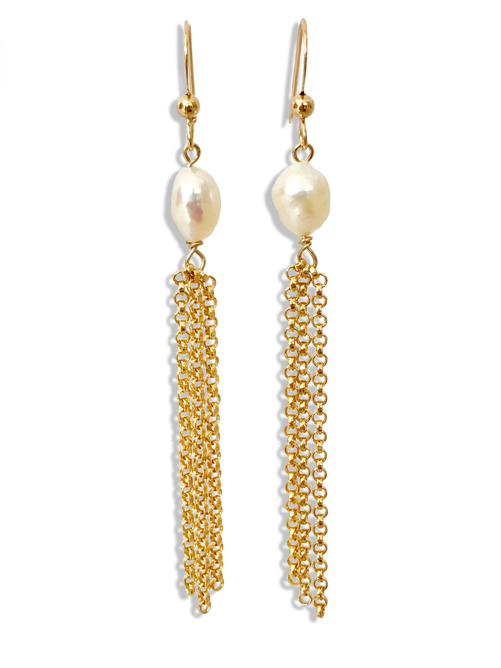 Freshwater Pearl 14K Gold Filled Tassle Earrings