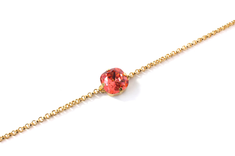 Coral Red Swarovski® 14K Gold Filled Bracelet - Toronto Handcrafted