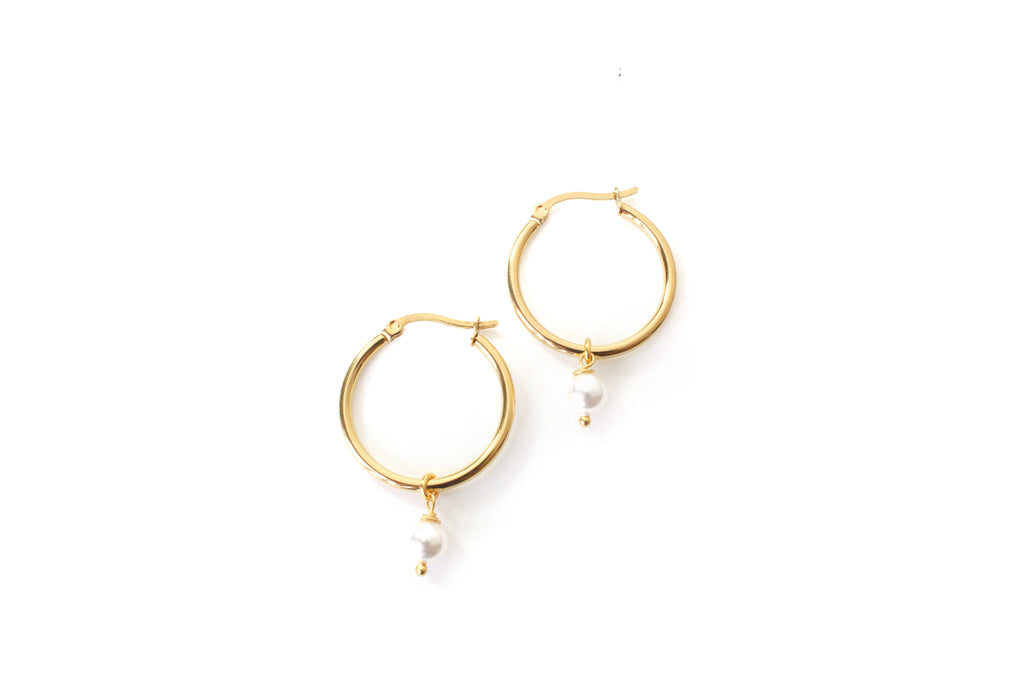 swarovski pearl on gold earring hoops