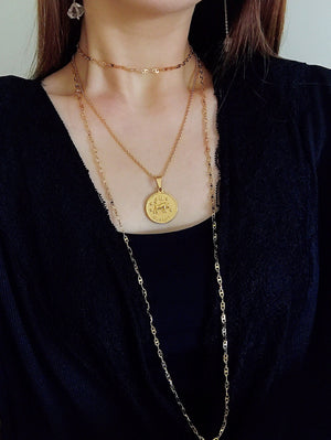 zodiac coin pendant gold colour