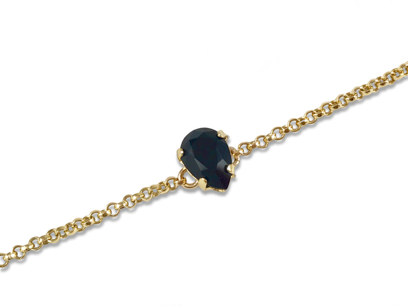 Black Swarovski® Crystal 14K Gold Filled Bracelet - Toronto Handcrafted