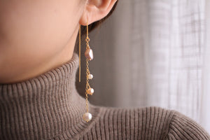 Multi-Pearl Drop Threader Earrings