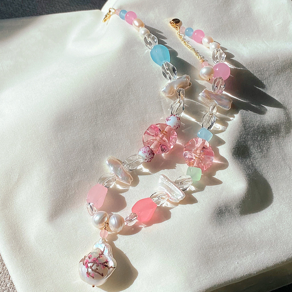 Cherry Blossom Gemstone & Glass Necklace
