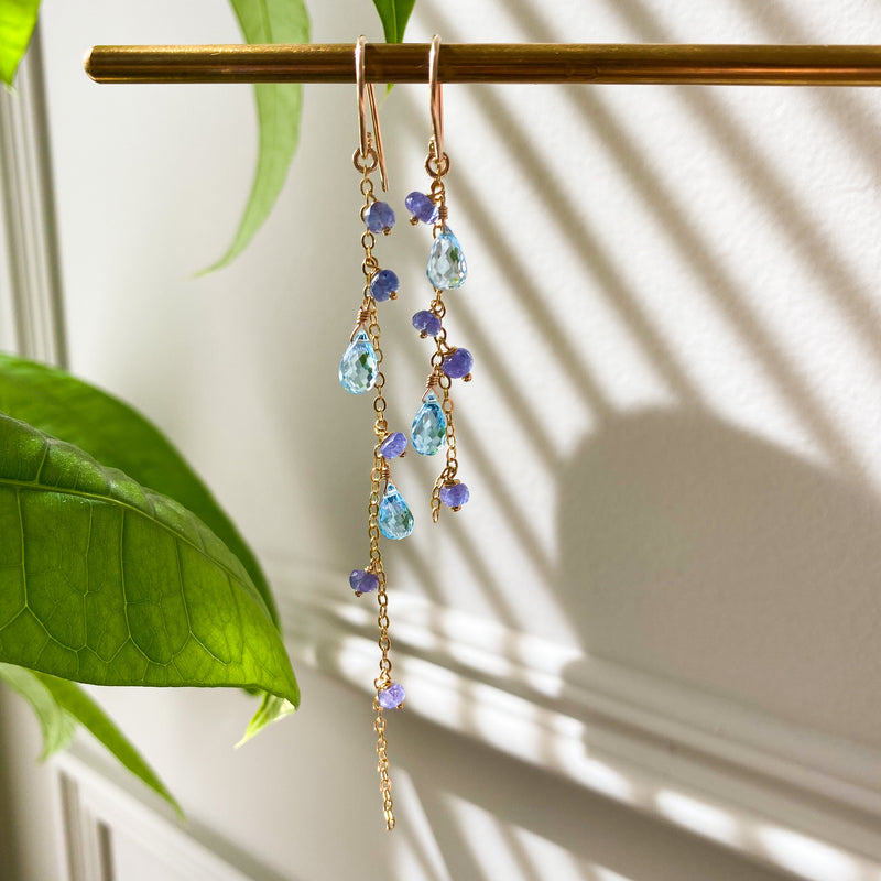 Blue Topaz and Tanzanite Asymmetric Earrings