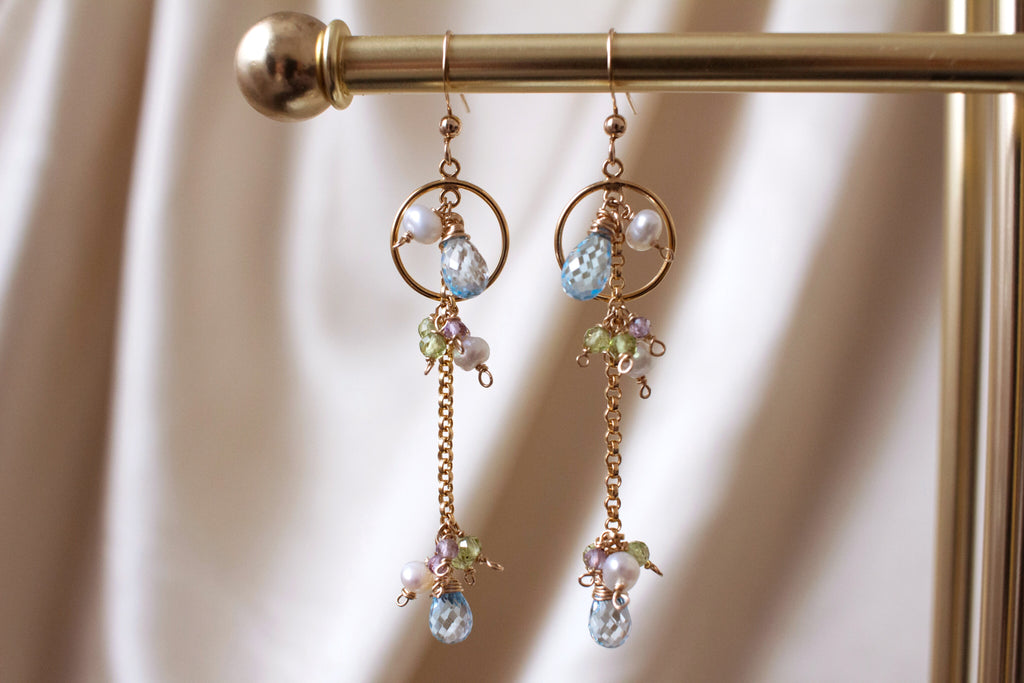 Birds of Paradise Blue Topaz Earrings