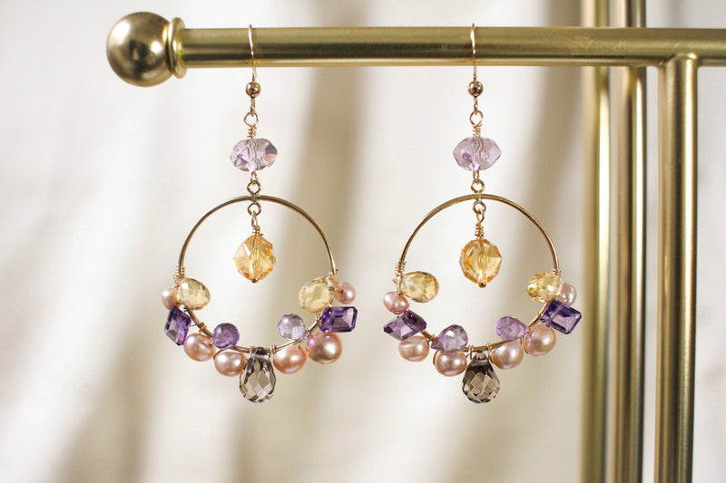 Amelie Citrine, Pearl and Amethyst Hoop Earrings