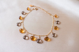 Jamie Brandy Citrine and Smoky Topaz Charm Bracelet