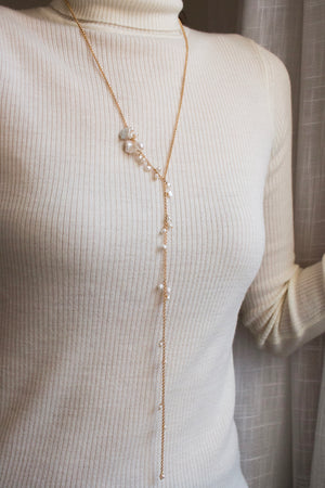 Freshwater pearl and 14KGF gold lariat necklace