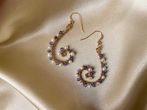 Tanzanite and freshwater pearl fancy 14KFG gold drop earrings