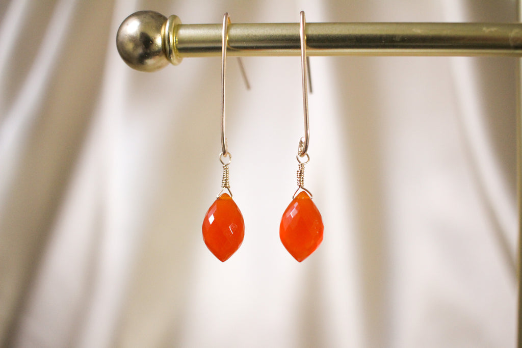 Carnelian gemstone 14KGF gold drop earrings