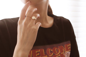 rainbow moonstone stacking ring on model finger