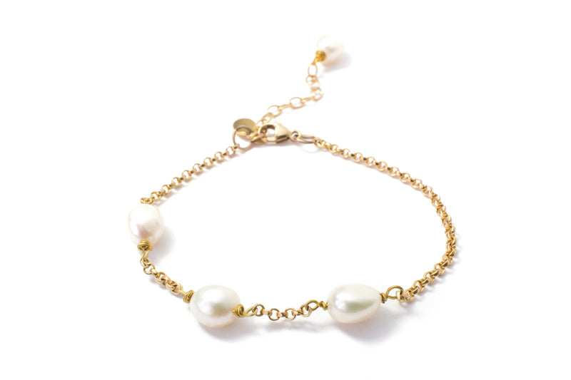 Asymmetrical 14K Gold Filled Pearl Bracelet - Cissy's Jewelry