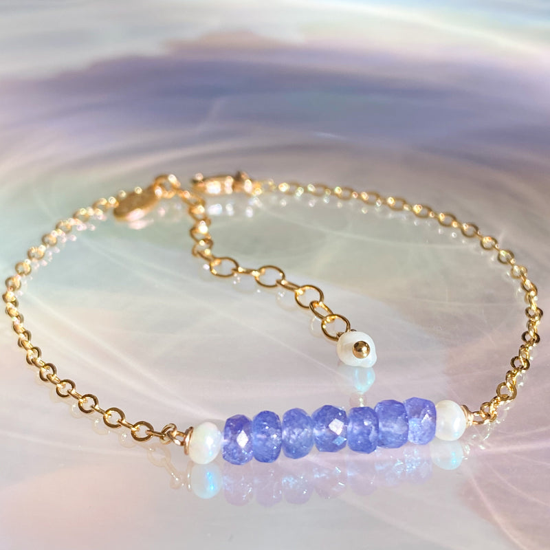 Tanzanite Bar Stacking Bracelet