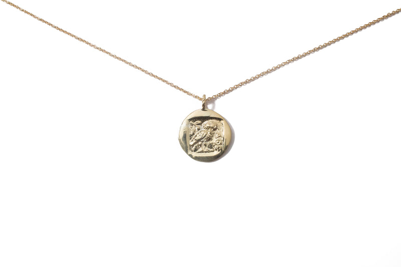 solid gold greek coin necklace with Athena's owl