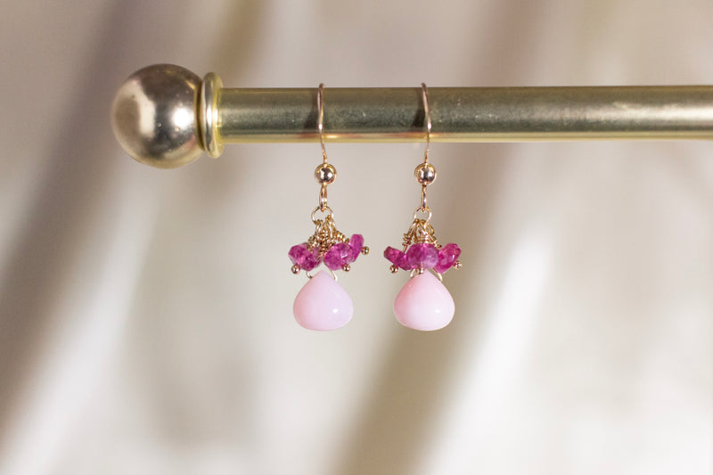 Pink Opal Raindrop Earrings