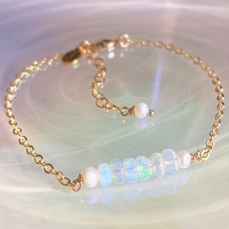 Opal Bar Stacking Bracelet
