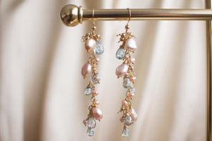 The Ava Blue Topaz and Pink Pearl Earrings