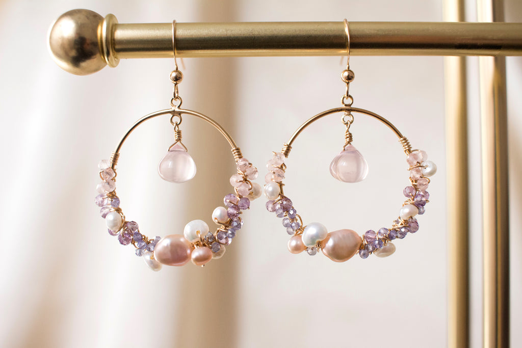 The Emily Rose Quartz and Pearl Earrings