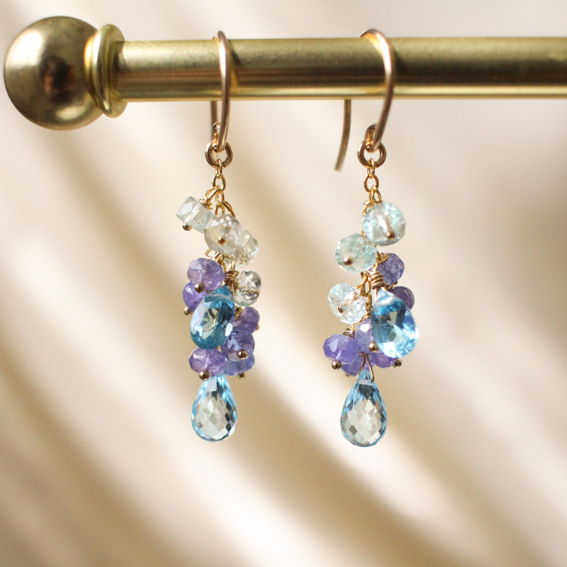 Paradise Blue Topaz And Tanzanite Gemstone Cluster Earrings