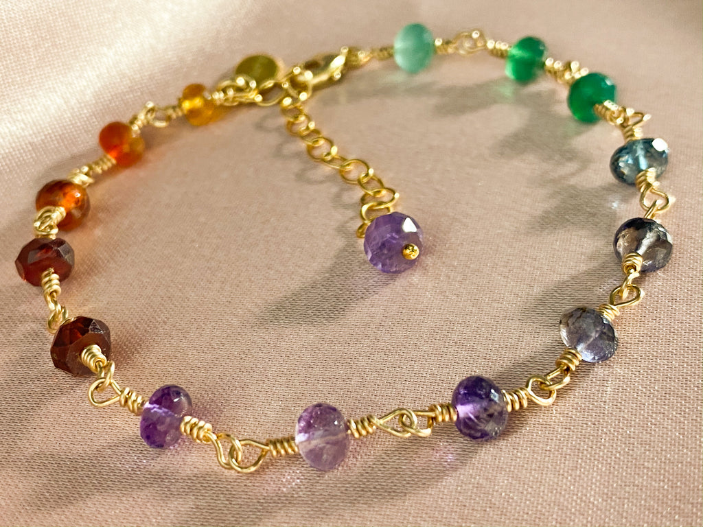 Rainbow gemstone 14KGF gold stacking bracelet