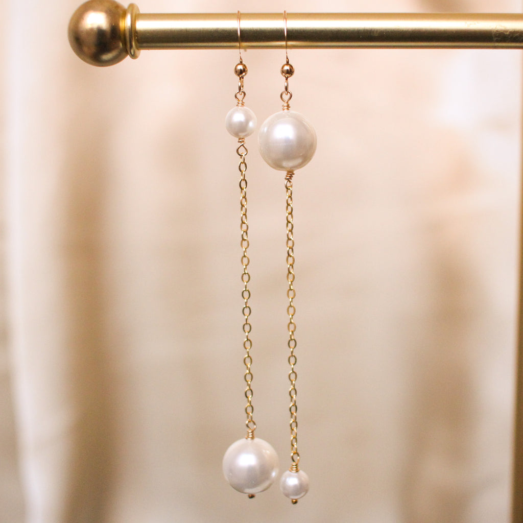 Upside Down Long Shell Pearl Drop Earrings