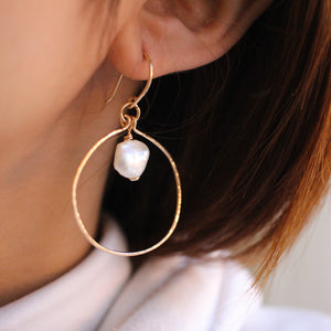 Izalea Pearl Hoop Earrings