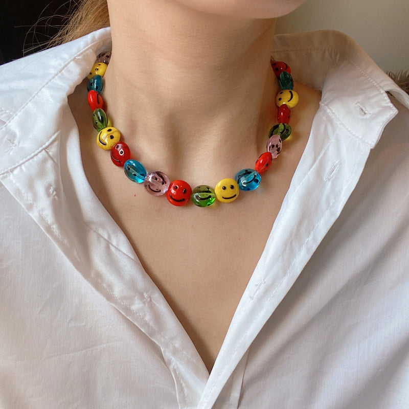 Rainbow Smarty Smiley Necklace