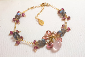 Anna Rose Quartz and Pink Tourmaline Bracelet