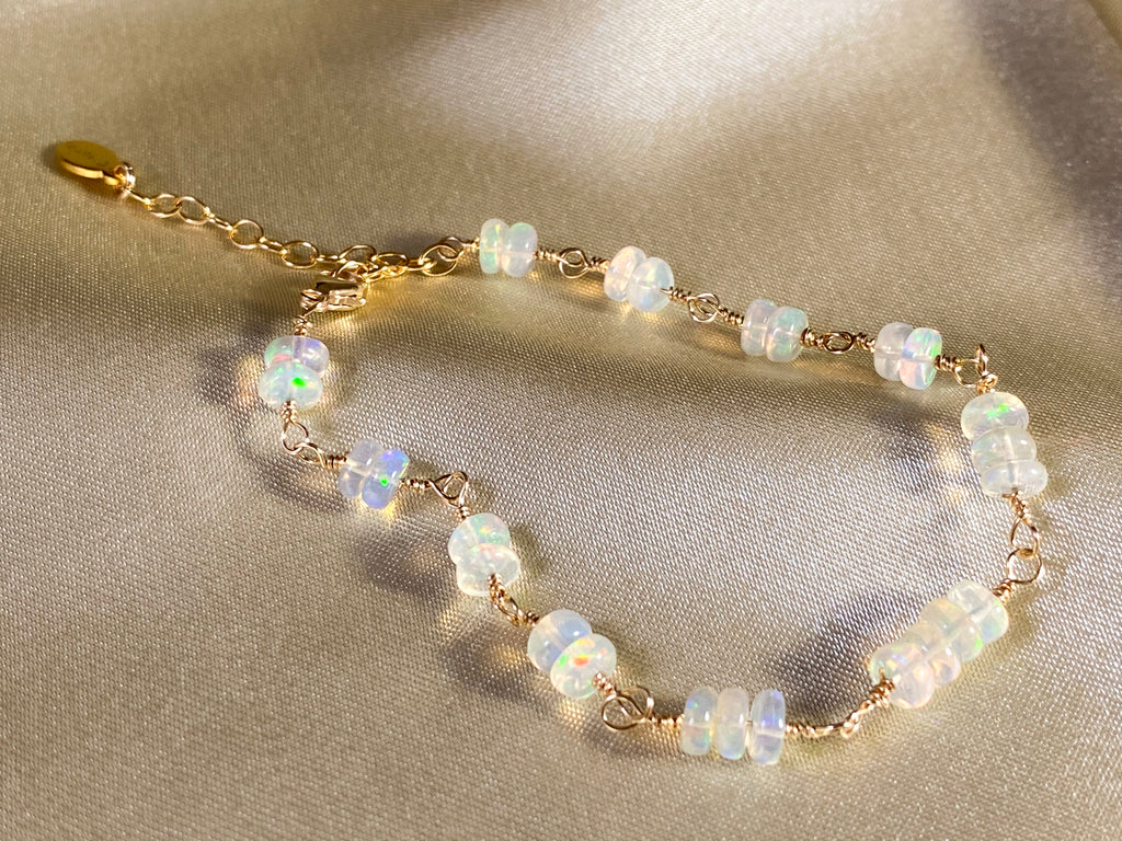 Opal gemstone 14KGF gold stacking bracelet